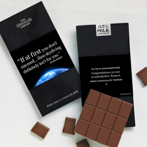 Felix Baumgartner chocolate library tribute bar