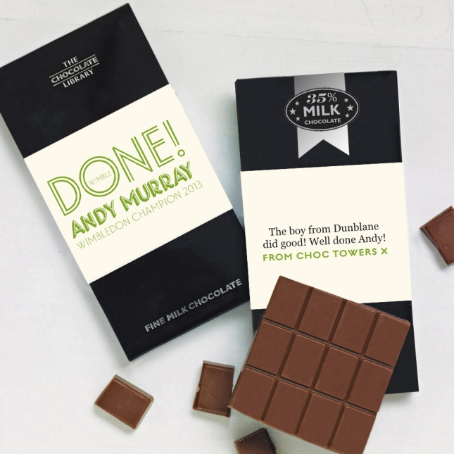 Special edition Andy Murray Wimbledon Champion chocolate.